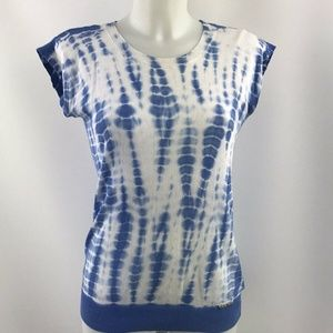 Michael Kors Blue Knit Short Sleeve Top Size XS